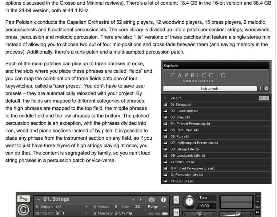 Capriccio - Sonokinetic - Sample libraries and Virtual