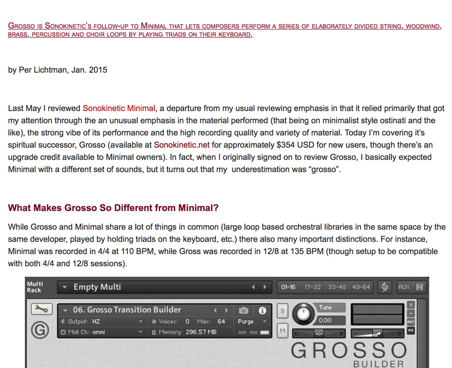 Grosso - Sonokinetic - Sample libraries and Virtual Instruments