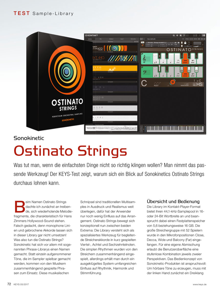 Ostinato Strings Review by Keys.de